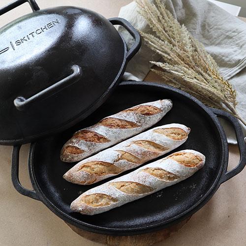 Iron Pan for Baking Sourdough Baguettes