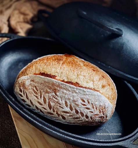 making sourdough bread in cast iron pan